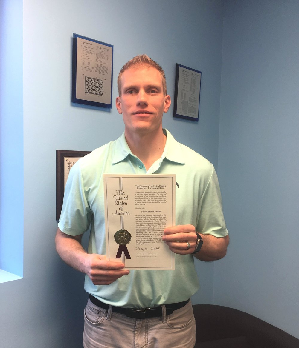 Pictured: ParaGen CTO Jed Johnson with ParaGen's 3rd fully issued patent from the United States Patent and Trademark Office.
