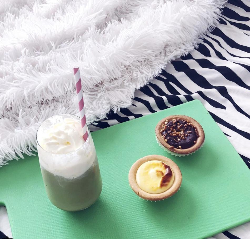 Ice cold matcha vanilla latte