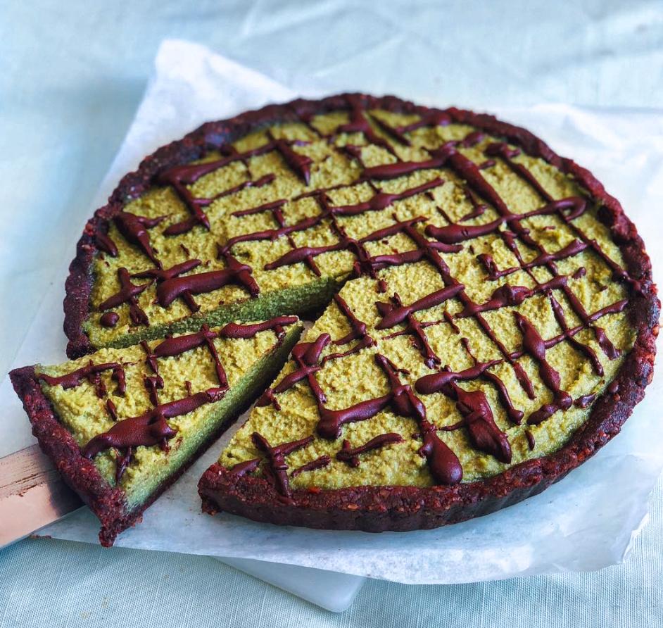 Raw vegan choc matcha tart