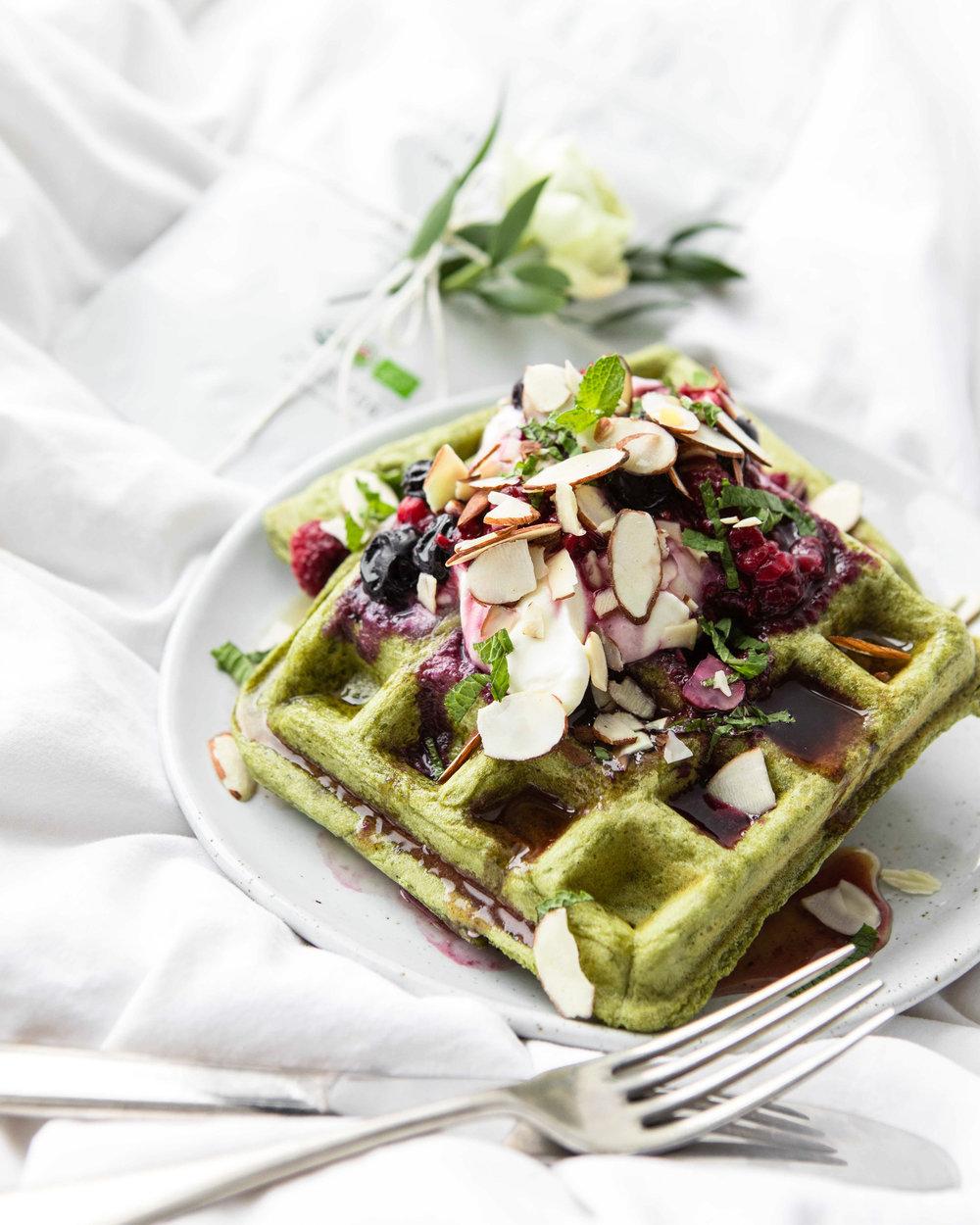 vegan matcha waffles
