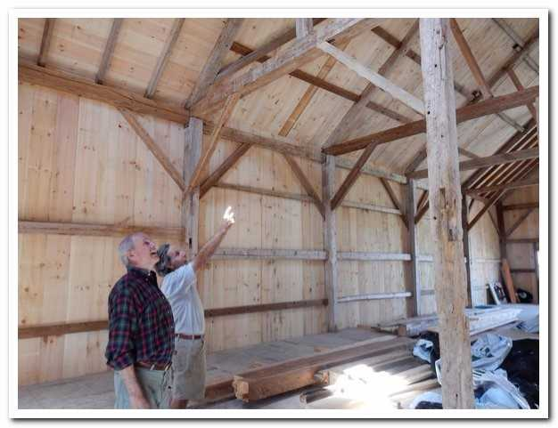 Peter Truslow of Houses & Barns by John Libby shares what he has learned about the historic character of the Pote Barn with Jim DeGrandpre of Wolfe's Neck farm. The varied styles of post and beam construction in three sections of the barn that have been preserved hold stories of changes over time.