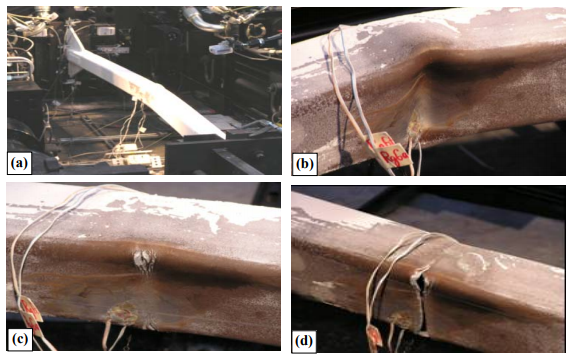 Figure 3: Traditional Braced Frame - Tested to Failure: Buckling and Rupture. Photos courtesy of Professor Benjamin Fell.