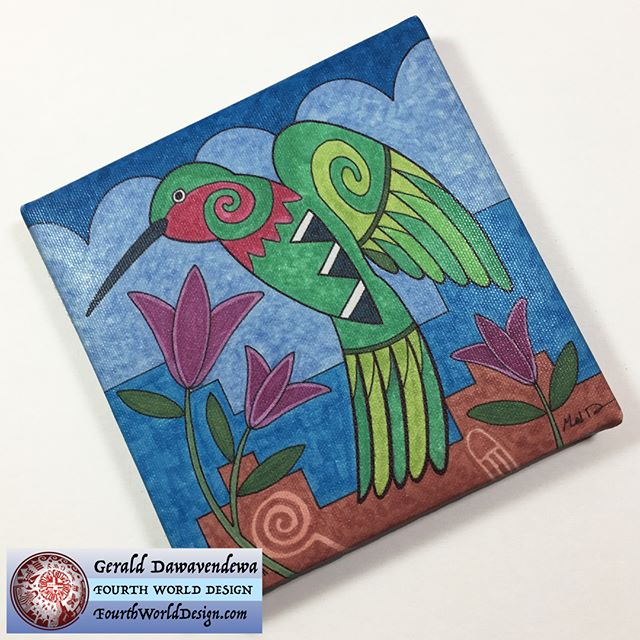 April's Mini Canvas of the Month is the HummingBirds. Although Hopi is a desert area, we are a migration path for many birds. It was not unusual to see ducks, waterbirds and hummingbirds. Check out www.FourthWorldDesign.com for details.