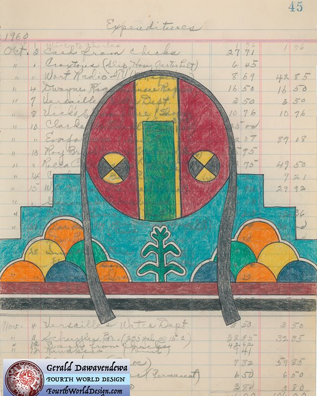 """Acoma Shield"", pencil on ledger paper. Gerald Dawavendewa (Hopi, Cherokee)"