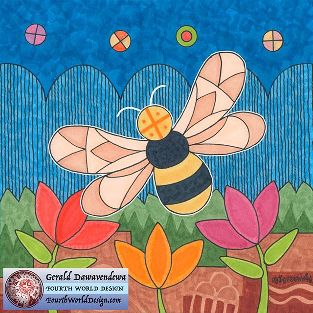 Our Mini Canvas of the Month is Momo - Bee. Although flowers are not widespread in a desert, they come with the rain clouds and the bees appear to pollinate and bring honey. The Hopi people depend on Momo to help with many plants the Hopi use and honey is a rare and sweet treat. Check out Momo and many other artwork on our website. www.fourthworlddesign.com