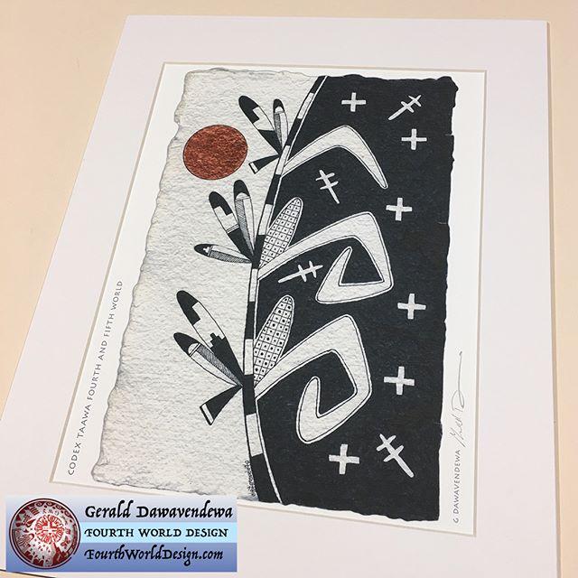 "New 11 by 14 inch matted print in our new Codex Taawa series titled ""Fourth and Fifth World"". #FourthWorldDesign, #Hopi, #Codex #ink, #Dawavendewa, #Native, #AmericanIndianArt, #Print,"