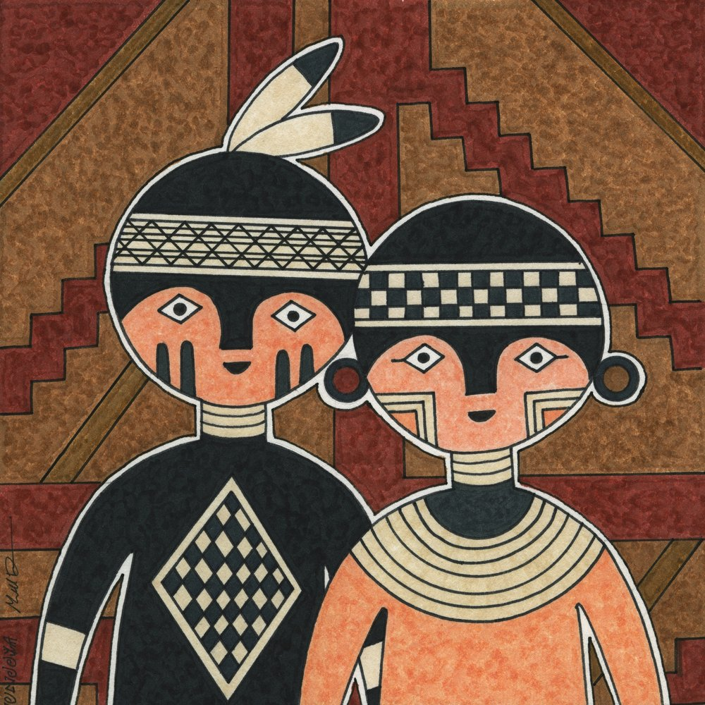Mini Canvas of the Month - Mimbres Couple