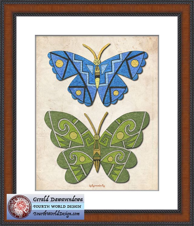 "Fourth World Design  new 11 by 14 inches matted print entitled ""Butterflies"". Two butterflies with rain clouds and prayer elements  upon their wings offer blessings to all life. Frame shows the display possibilities and is not included. Print will fit a standard frame. #FourthWorldDesign, #butterflies, #Hopi,#Pueblo, #Southwest"