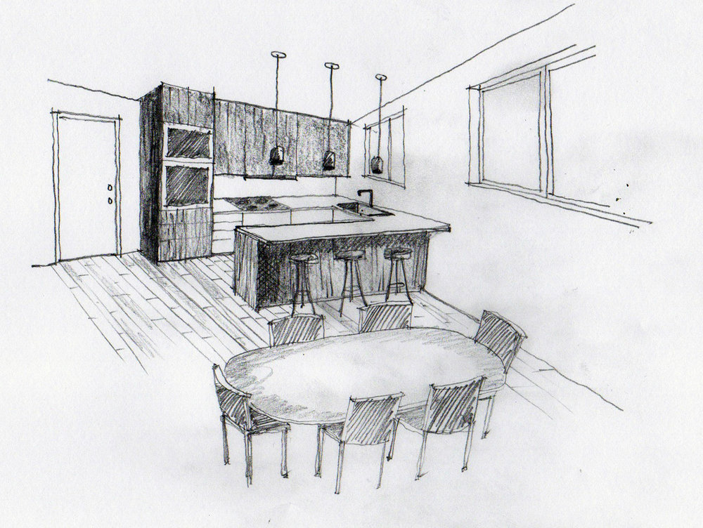 The reconfigured kitchen increases work space and storage, adds peninsula seating, and connects seamlessly with the relocated dining room.