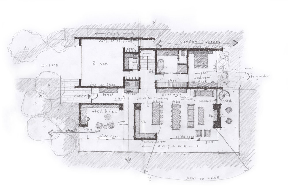 The main level floor plan includes a library and living room facing south toward the view and deck, a master bedroom faces east to receive morning sunshine