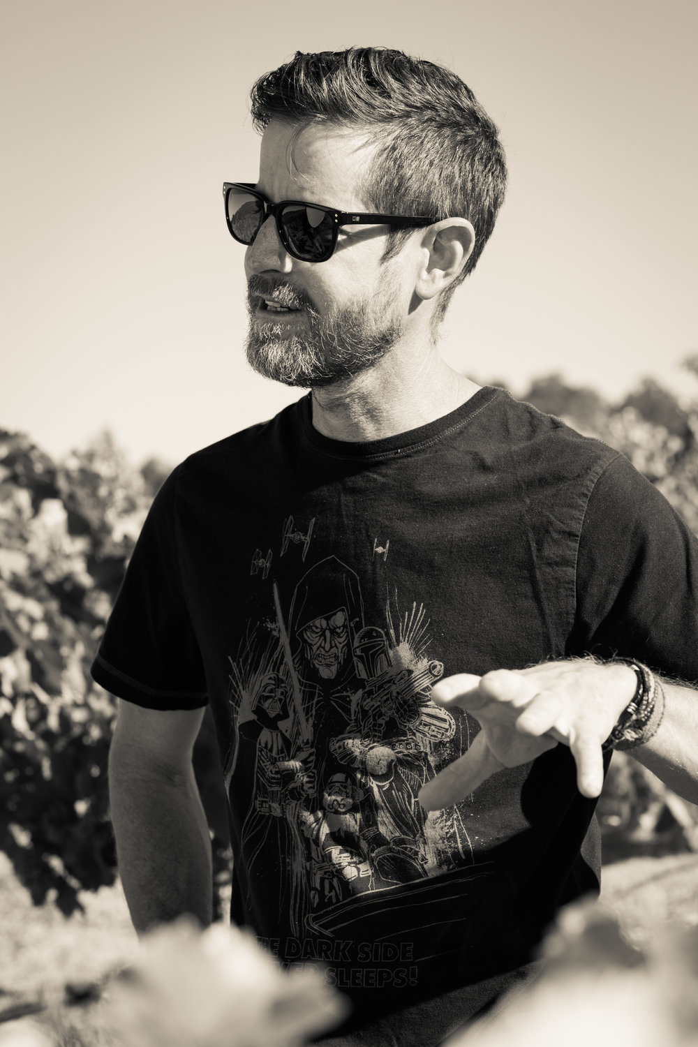 Justin Smith - Winemaker - Saxum Vineyards Justin Smith is the winemaker of Saxum Vineyards which he and his wife, Heather Smith, established in 2002. They are focused on producing Grenache, Syrah, and Mourvèdre based blends using grapes from nearby vineyards located in the Willow Creek District of Paso Robles. The majority of his grapes come from his family's estate vineyard, the James Berry Vineyard, which Justin also owns and manages. It was planted by his parents, James Berry and Terry Smith in the 1980's. He focuses on farming sustainably and organically, keeping yields low, picking fruit at the peak of ripeness, and using a minimalist approach in the cellar. Justin resides with his wife and three children on their vineyard in Paso Robles, Ca.