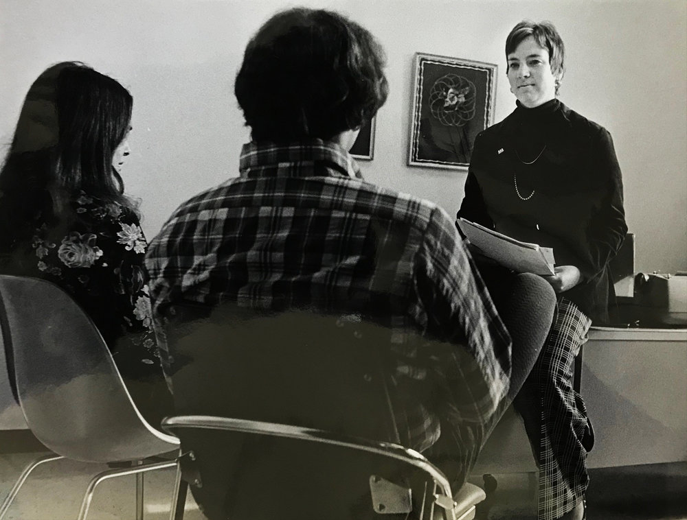 Lois Plantefaber - A couple discuss adoption with social worker Lois Plantefaber.  1974