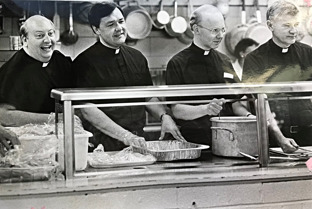 Fathers Phil Gallagher, Jim Swiat, Bernard Reilly and Douglas Osborn - Priests support North End Soup Kitchen, 1987