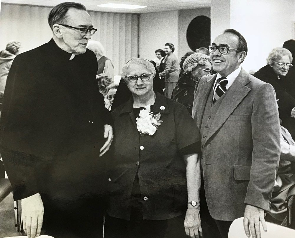 Fr. Sheridan, Sr. Euphrasia and William Haley - Sister Euphrasia was one of the first staff members in 1941. She retired in 1980.