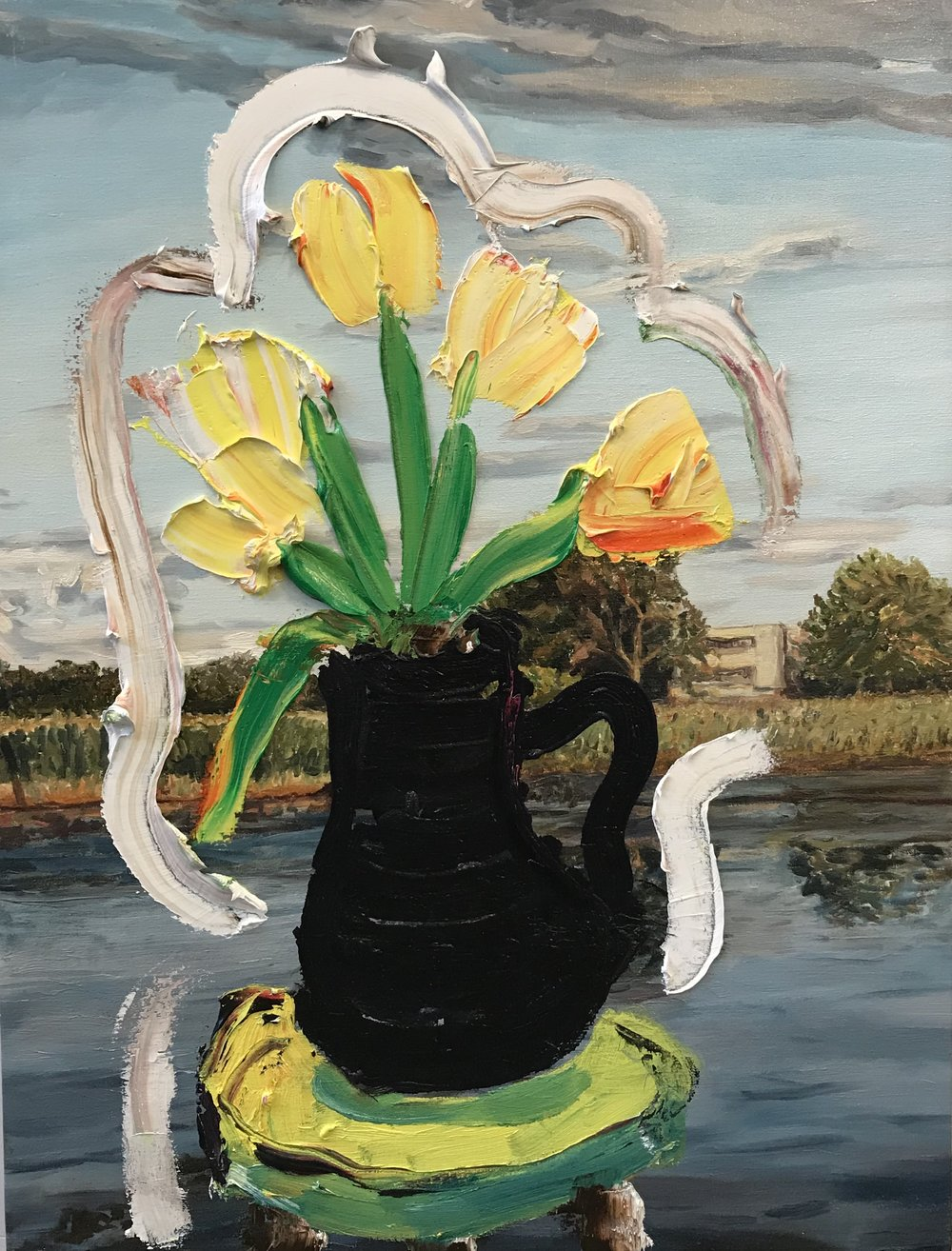 Sag Pond Landscape with Still-life (Yellow Flowers), 2018