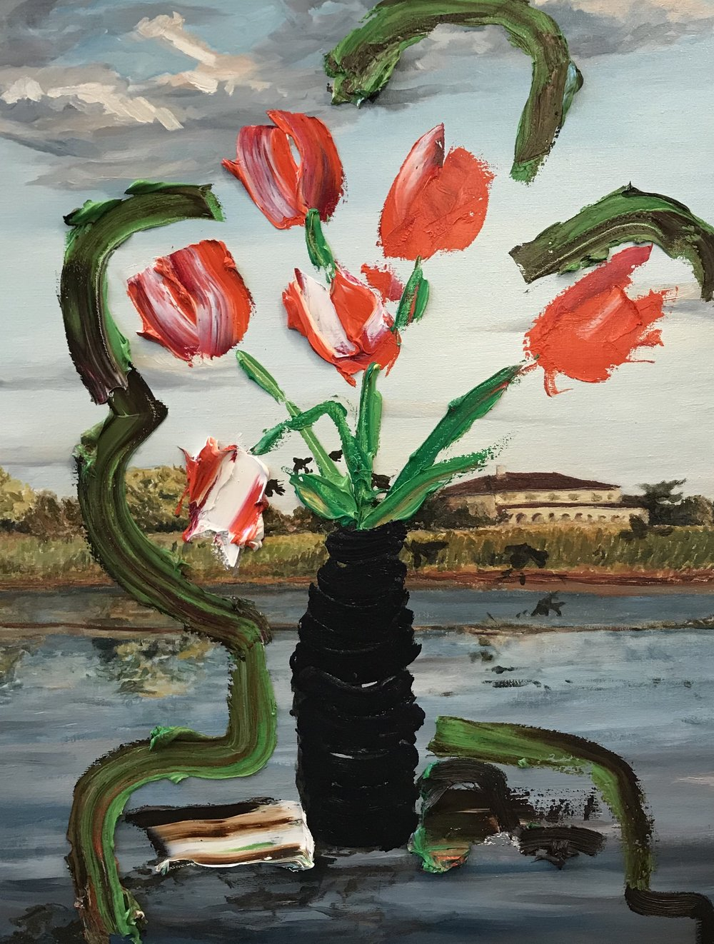 Sag Pond Landscape with Still-life (Red Flowers), 2018