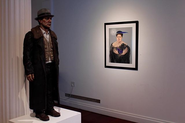 Sean Henry: The Way It Is, 2012 / Anna Jurinich: Self Portrait with Blue Feather Hat.  Masters of Realism Featuring: Rainer Andreesen, Daniel Sprick, Matthew Adelberg, Immi Storrs, Andrew Wyeth, Jamie Wyeth and others. Now thru March 8th Rafael Gallery 235 E59th St. NYC 212-755-4888 #seanhenry #annajurinich #rafaelgallery #mmfineart #m_and_mfineart #petermarcelle #apmarcelle #contemporaryart #contemporaryrealism #art #sculpture #watercolor #artoninstagram #artistsoninstagram #artstagram #interiordesign #design #decorator #nycgallery #gallery #supportlivingartists