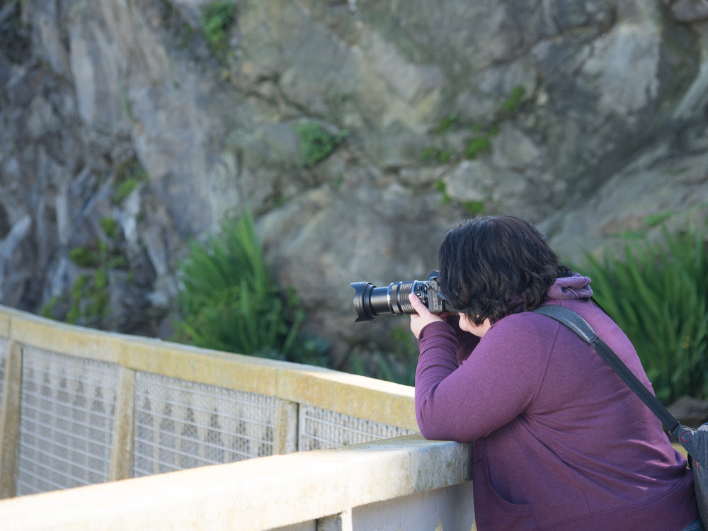 Reba grabbing her landscape shots off of Alcatraz