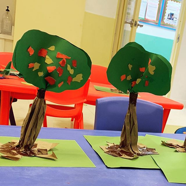 The kids made some tricky trees in art class today! . . #art #kidsart #motorskills