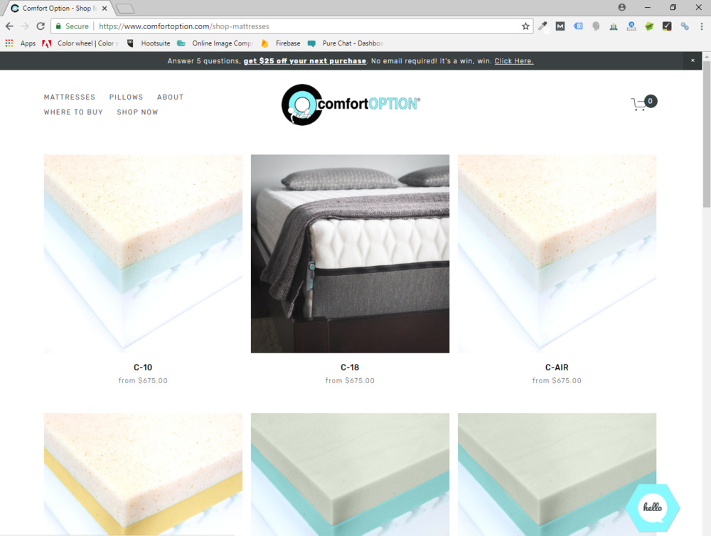 Online mattress shopping on the Comfort Option website