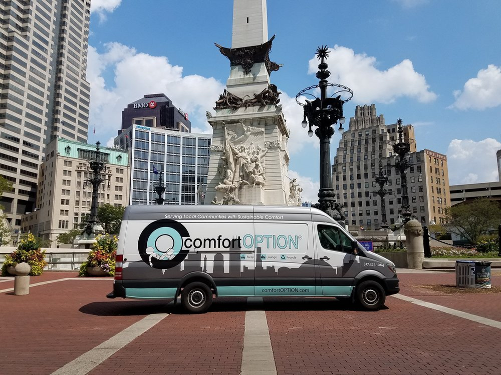 Comfort Option mattress van on Monument Circle in Downtown Indianapolis.