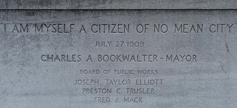 "The cornerstone of Indianapolis City Hall, bearing the phrase ""No Mean City."" Joseph Taylor Elliott was a founder of the city, a Civil War veteran and POW, and the grandfather of the founder of our parent company, Foamcraft, Inc."