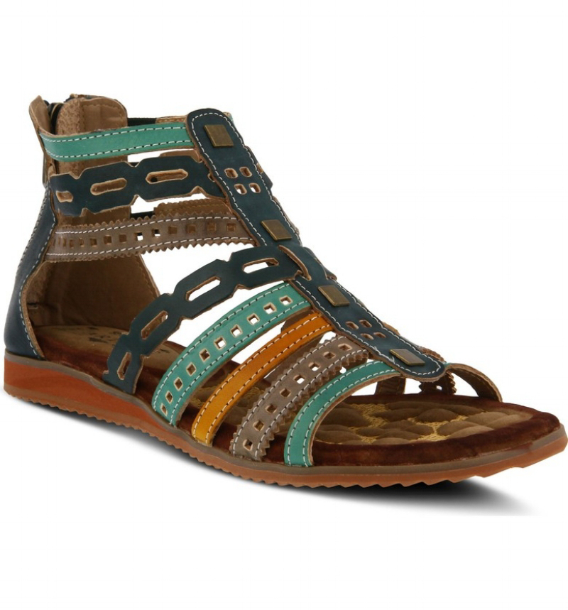 L'Artiste Anjula Sandal - Teal Leather (PC: DSW.com)