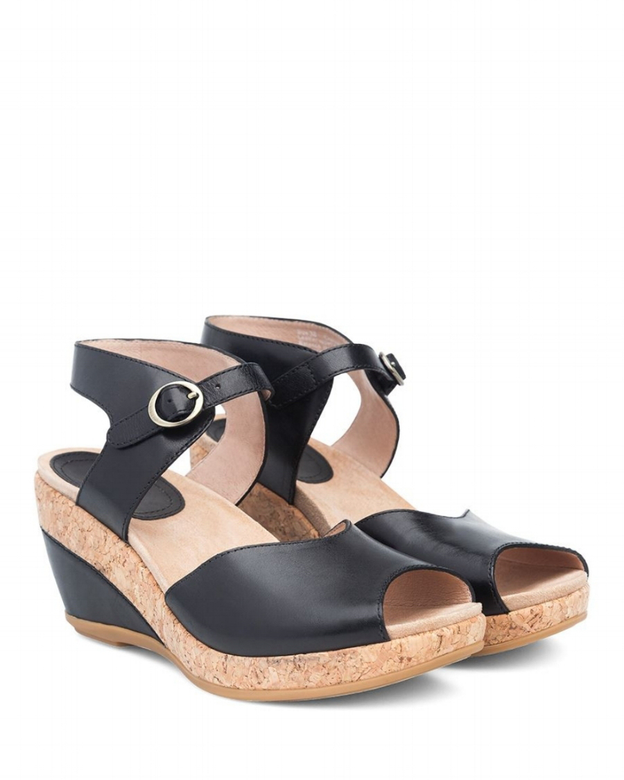 Dansko Charlotte Black Full Grain Sandal - Black (PC: Dansko.com)