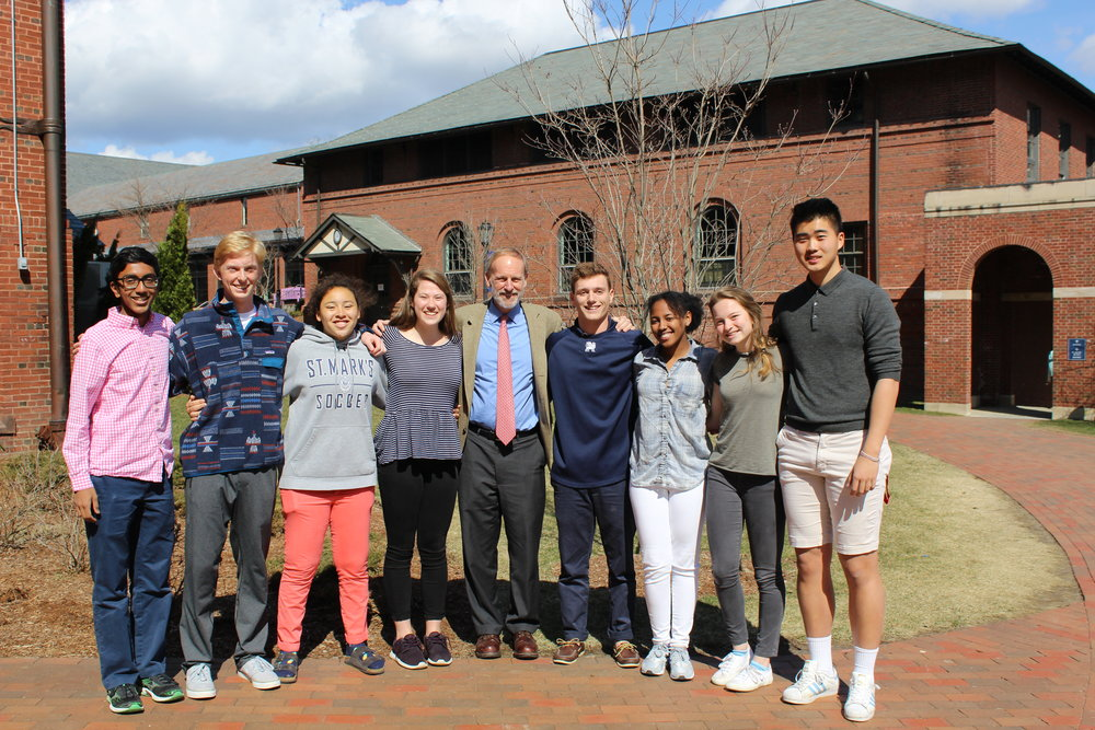 From left to right: Rwick Sarkar, Tom Paugh, Zoe Maddox, Kate Normandin, Mr. Warren, Matt Hart, Zeñia Alarcón, Shelby Howard, and Jason Zhang