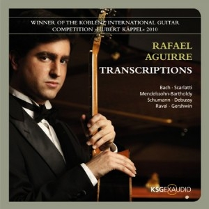 TRANSCRIPTIONS ( play on Spotify )   The repertoire's quality on this album is unsurpassed, being an unusual guitar album with music by Bach, Schumann, Mendelssohn, Ravel, Debussy, Gershwin and Scarlatti. This is an enormous challenge for any guitarist.