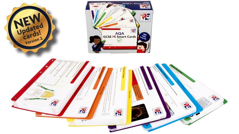 AQA GCSE PE Smart Cards - *NEW UPDATED CARDS (VERSION 2)*ONLY £18.49Recently updated with more exam style questions and relevant content in preparation for the 2019 summer examinations. Smart Cards are here to support and help you be better prepared for the challenging GCSE PE exams. They are concise, easy to use and specific to your exam board.Buy now