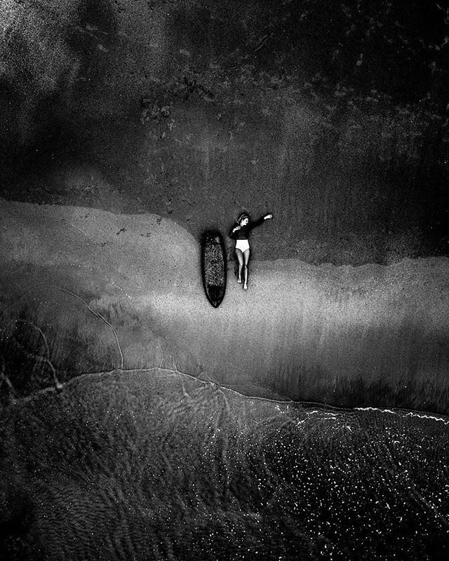 LOST . . . #surfphotography #photography #spain #langre #blackandwhitephotography #artphotography #sand #moon #darkness #drone #mavic #mavicpro #fromabove #surf #surfing #surfer #surfergirl #beachgirl #travelgram #traveltheworld