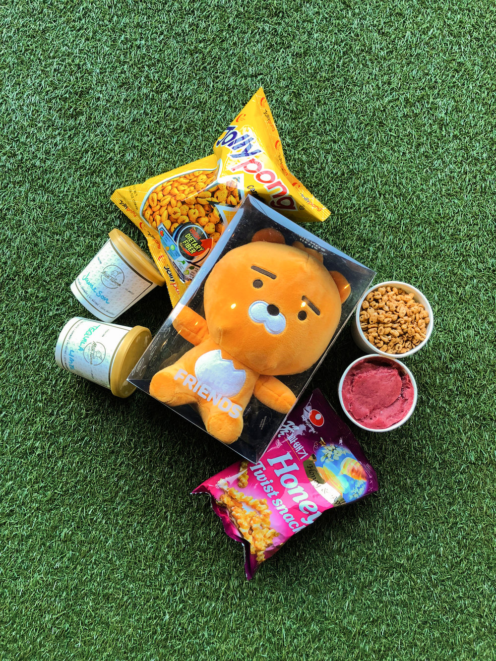 Kakao Friends Character 'Ryan' with Milk Tavern Handcrafted Cereal & Korean Snack Ice Creams