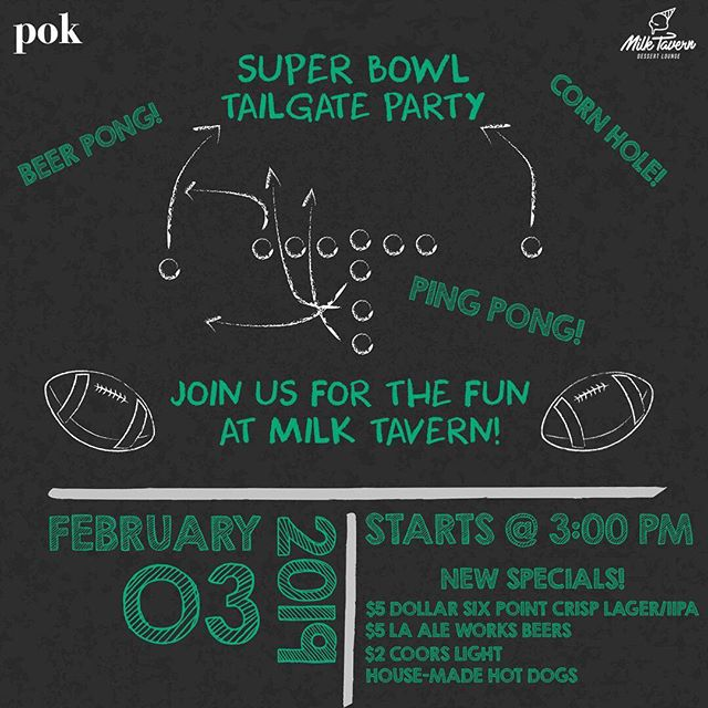 Everyone excited for the super bowl as much as we are? Great, because we have you covered this Sunday with the game food and fun.👌 We'll be serving our house-made hot dogs and amazing beer specials with fun games for you to enjoy from beer pong to corn hole(yes, it's back 😉) will be available all day. Game starts @ 3PM so come with your favorite team jersey and high energy 🏈🏈🏈