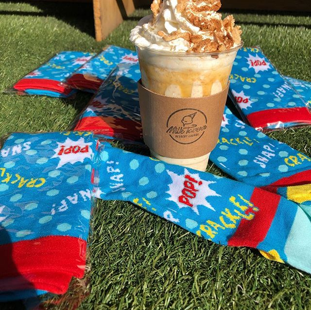 ‼️Special Giveaway alert‼️ We have special @kelloggsus Rice Krispies socks that we are giving out for free along with a Horchata Cereal Shake(Cinnamon Toast Crunch Frosted Rice Krispies with Whipped Cream and Carmel Drizzle) to 6 random winners! 🔽🔽how to enter🔽🔽 Like, comment and tag three friends on this post and we'll randomly DM the winners. Winners will be picked within the next three days! You must be in Los Angeles area in order to redeem the prizes. . . . #dessert #losangeles #giveaway #foodie #cereal #nom
