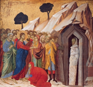 The Raising of Lazarus , by  Duccio ,