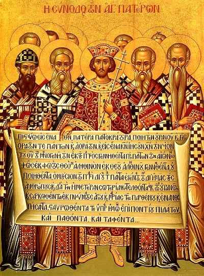 Emperor Constantine and bishops holding the Niceno–Constantinopolitan Creed of 381