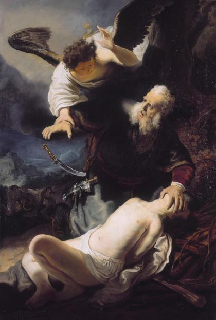 The Offering of Abraham, Genesis 22:1-13 , workshop of  Rembrandt