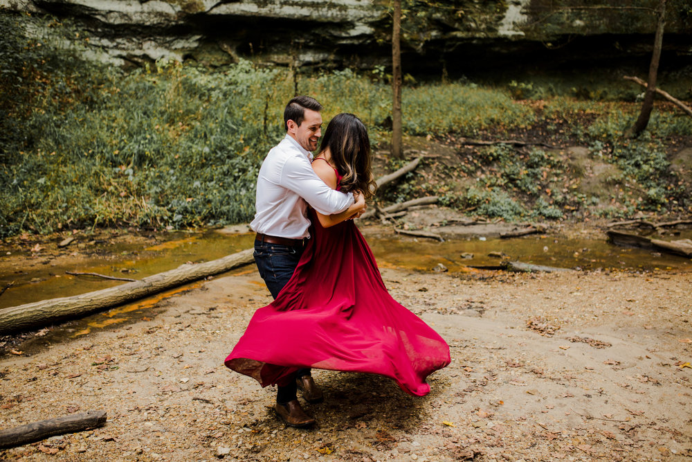 Romantic Adventurous engagement session in Midwest, Illinois