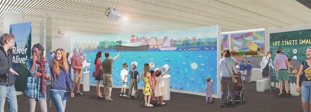 The forthcoming 4,000 sq. foot exhibit, RiverAlive! at the Independence Seaport Museum, Philadelphia's latest watershed asset. In partnership with Hands On! Studio and the William Penn Foundation.