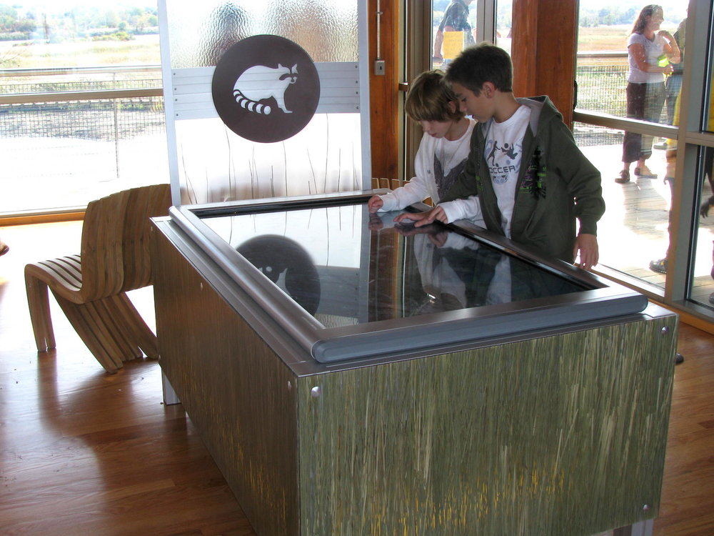 An interactive water education table at the Russell W. Peterson Urban Wildlife Refuge in Wilmington DE. An early collaboration with Interpret Green.