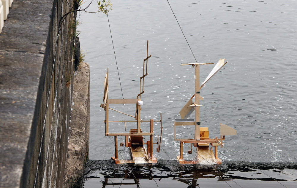 Kinetic water-powered sculptures move and splash at FLOW Festival, celebrating water on the banks of the Schuylkill River. Habithèque collaborated with 11 artists for this fete.