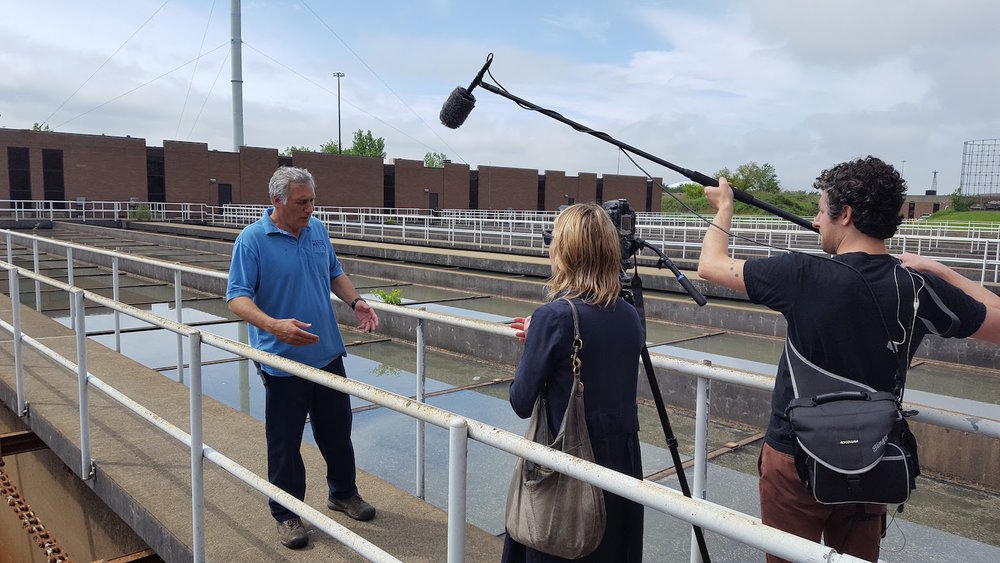 Conducting interviews with Urban Video Productions at the Philadelphia Water Treatment Facility.
