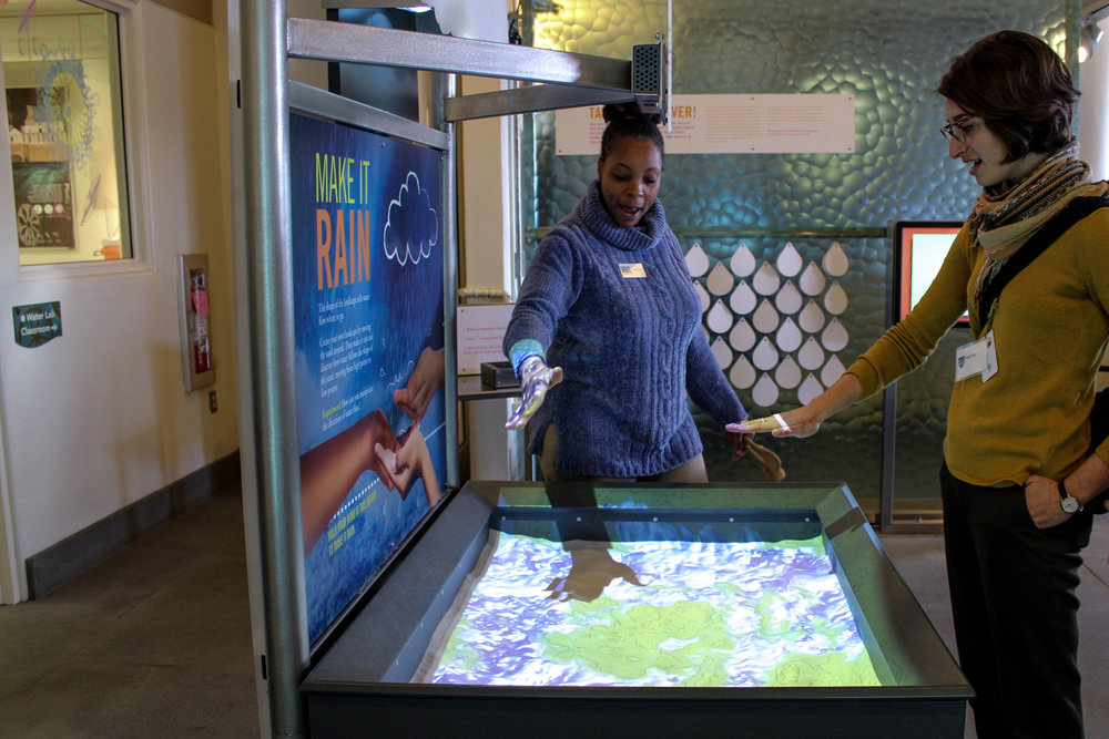Educators get a sneak peek of the Mussel Hatchery and a chance to experience the many interactive technologies involved in the exhibit.