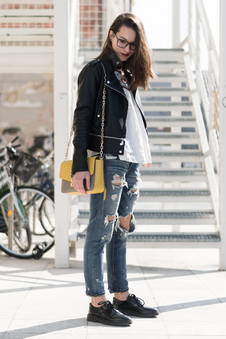 black leather jacket, white bohemian blouse, ripped jeans and oxford shoes, liujo bag, designer bag, style blogger