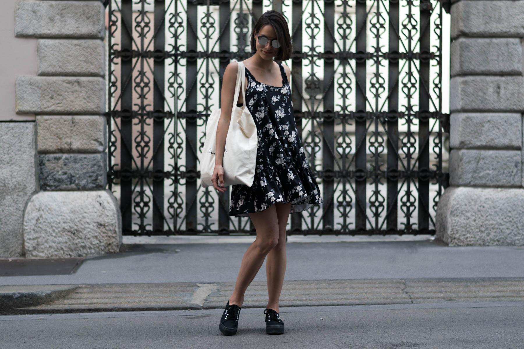 Superga platforms and a floral dress on a hot summer day-15