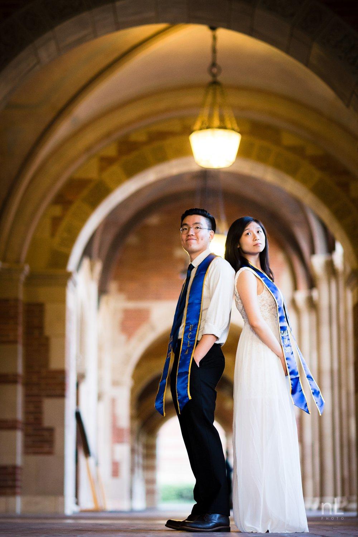 los angeles ucla senior graduation portrait epic cute couple under royce hall archways