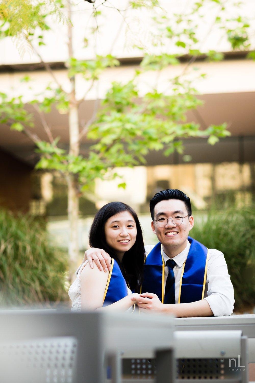 los angeles ucla senior graduation portrait cute couple smiling and in love