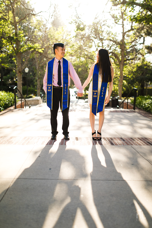 los-angeles-ucla-senior-graduation-portraits-bruinwalk-couple-sashes-sunset-shadows