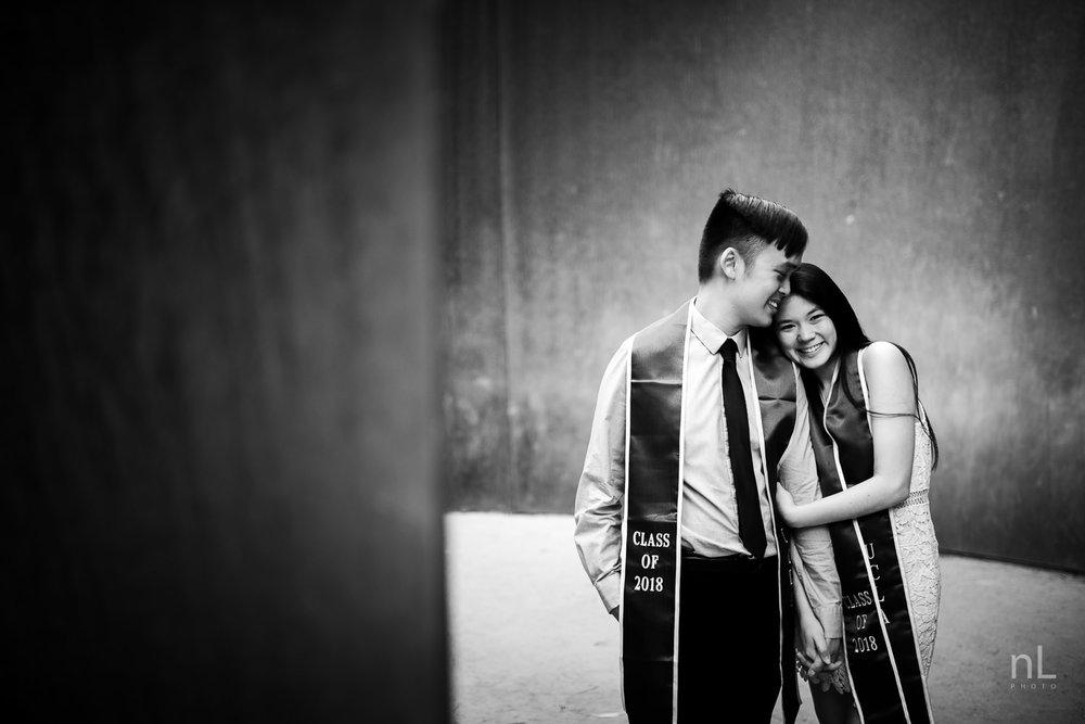 los-angeles-ucla-senior-graduation-portraits-couple-hugging-sashes-black-and-white